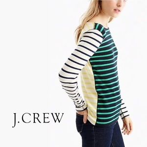 J. Crew Waffle Knit Striped Top, M